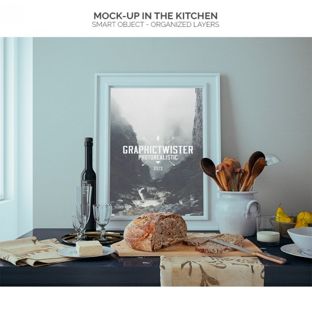 Frame mock-up in the kitchen Free Psd