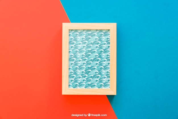 Frame mock up on red and blue background Free Psd