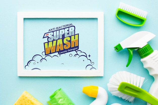Frame mock-up with hygiene products Free Psd