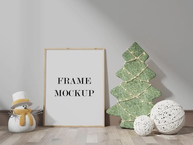 Frame mockup beside snowman 3d visualization Premium Psd