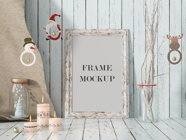 Frame mockup for christmas and new year holiday Premium Psd