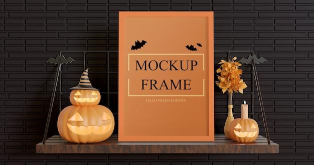 Frame mockup halloween edition with adjustable color Premium Psd