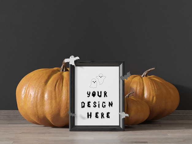 Frame mockup halloween party with pumpkins and flying bats Premium Psd