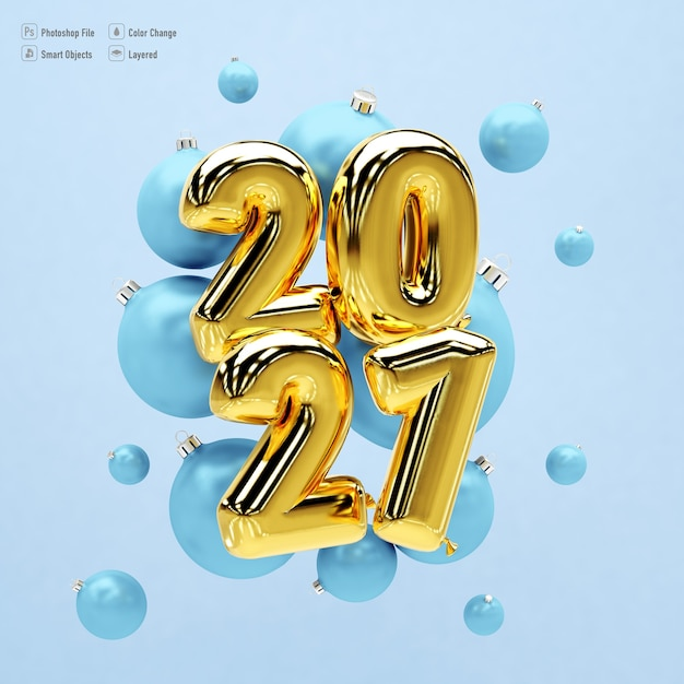 Frame mockup for happy new year 2021 with balloons and gifts Premium Psd