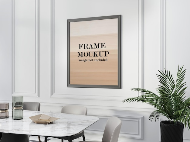 Frame mockup inside molding on white wall Premium Psd