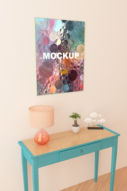Frame mockup above little table Free Psd