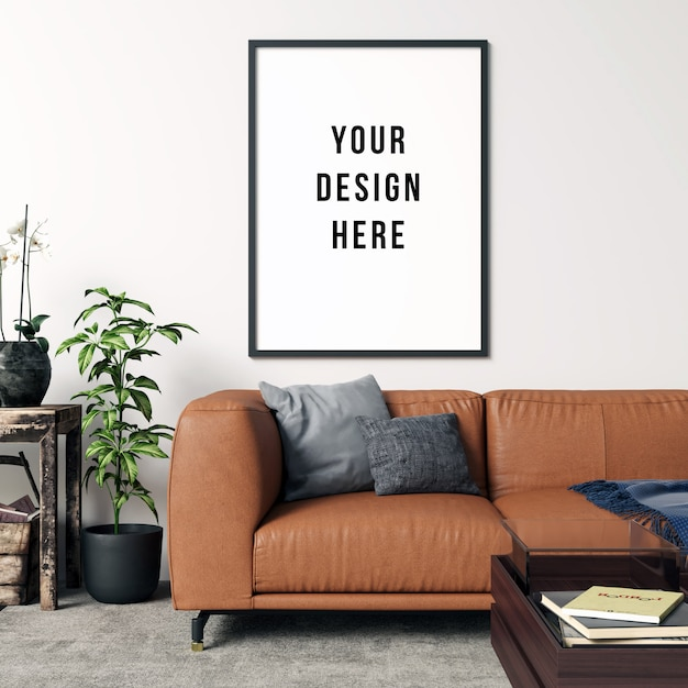 Frame mockup living room interior with decorations Premium Psd