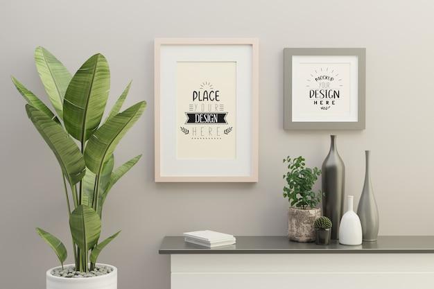 Frame mockup in living room interior Free Psd