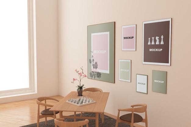 Frame mockup in living room Free Psd