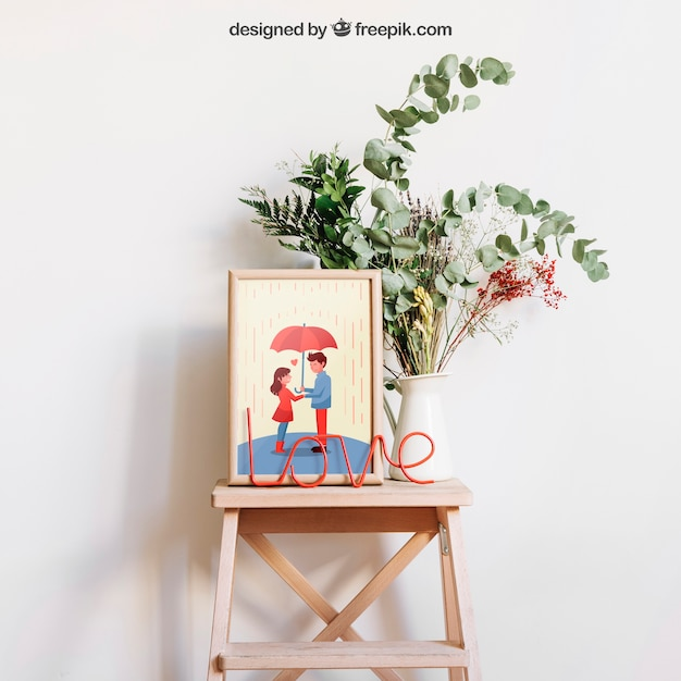 Frame mockup on decorative stool Free Psd