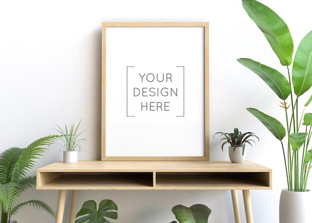 Макет рамы на стене с растением Premium Psd