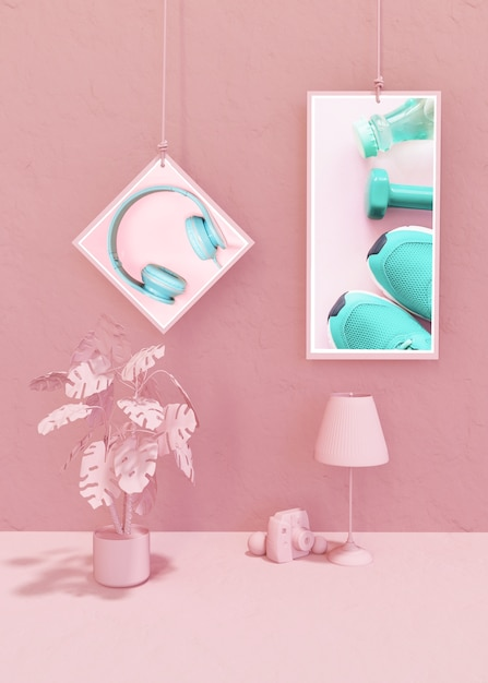 Frame mockup in pink pop style Free Psd