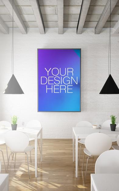 Frame mockup in restaurant interior Premium Psd