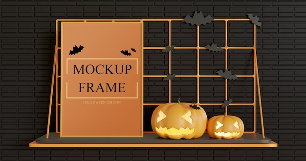 Frame mockup standing on the wall table, halloween edition Premium Psd