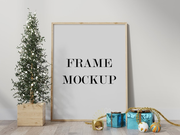 Frame mockup surrounded by christmas decoration 3d render Premium Psd