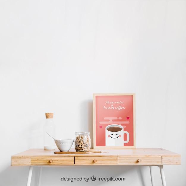 Frame mockup on a table Free Psd