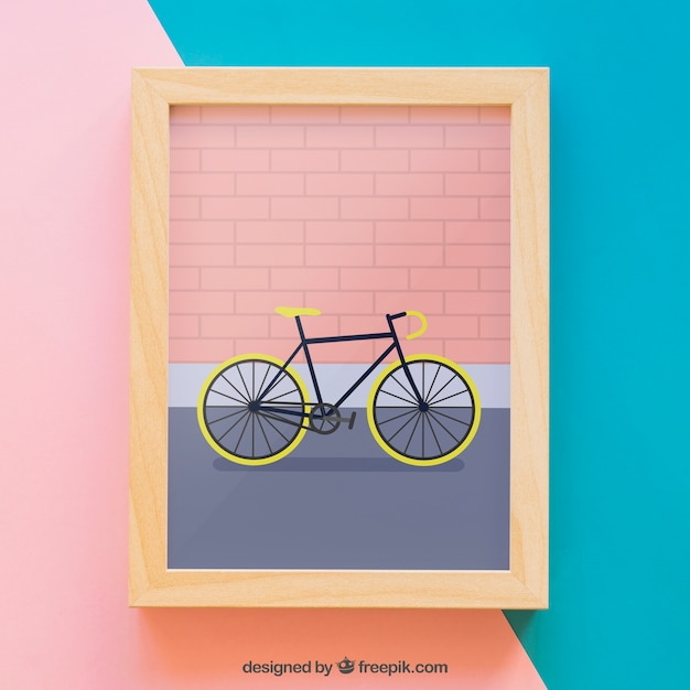 Frame mockup with bike Free Psd