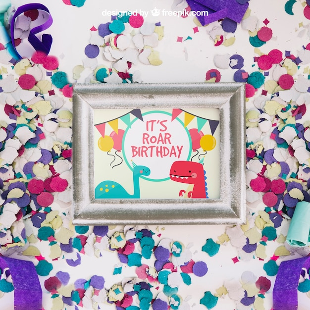 Frame mockup with birthday design PSD file | Free Download
