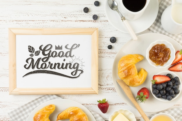Frame mockup with breakfast concept Free Psd