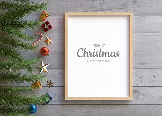 クリスマスの装飾が施されたフレームのモックアップ 無料 Psd