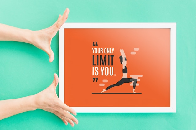 Frame mockup with hands Free Psd