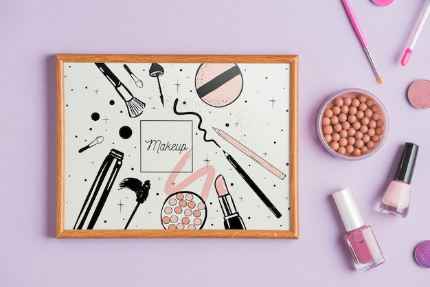 Frame mockup with makeup concept Free Psd