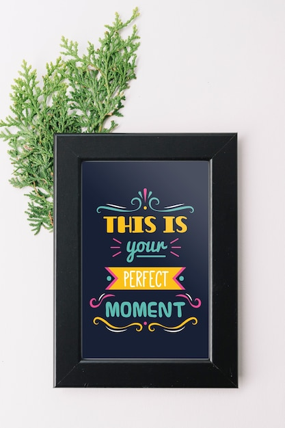 Frame mockup with nature concept for quotes Free Psd