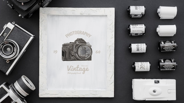 Frame mockup with photography concept Free Psd