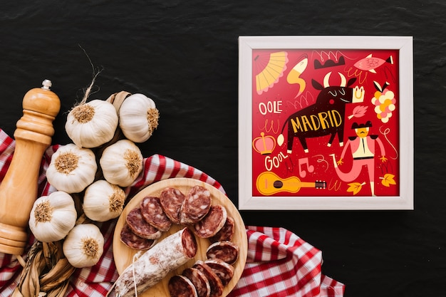 Frame mockup with traditional spanish food Free Psd