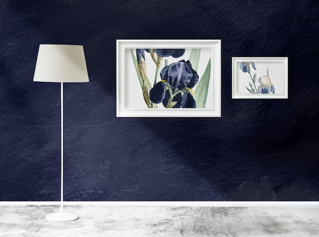 Frame mockups in a room with a lamp Premium Psd
