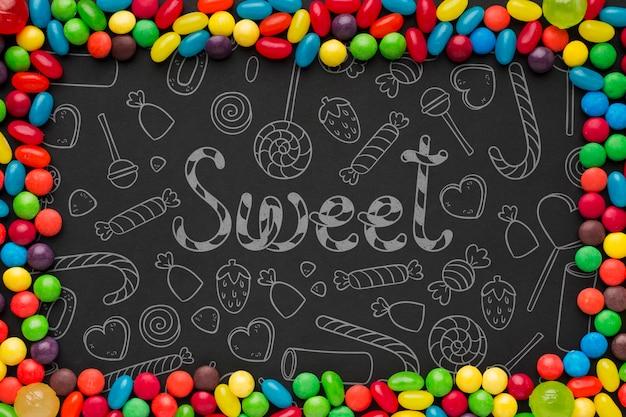 Рамка из разноцветных конфет Бесплатные Psd