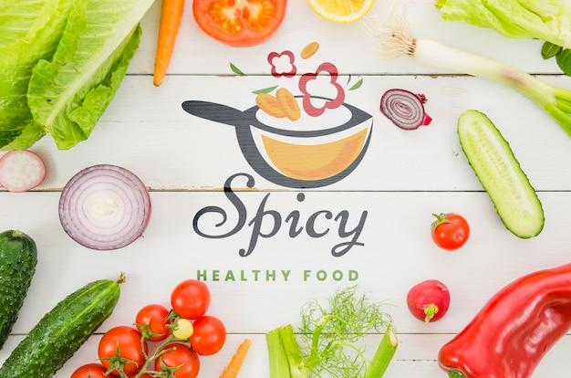 新鮮な野菜のモックアップのフレーム 無料 Psd