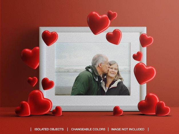 Frame photo card mockup for valentine's day concept with hearts isolated Premium Psd
