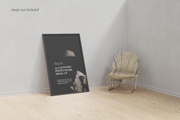 Frame poster mockup on the floor Premium Psd