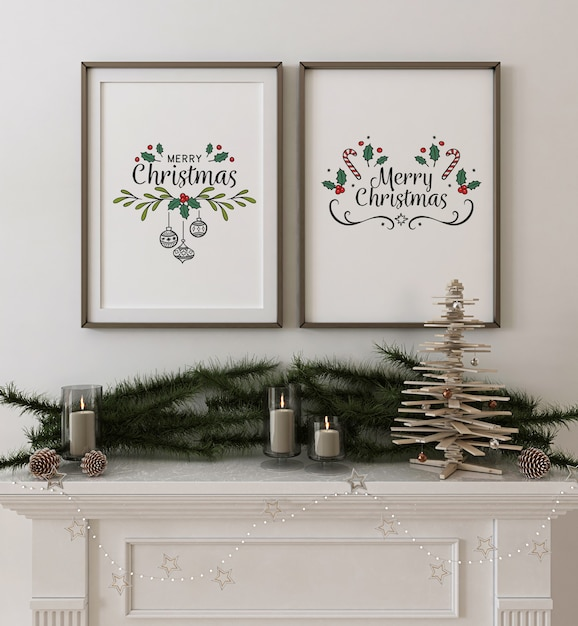 Frame poster mockup with wooden christmas tree and decoration Premium Psd