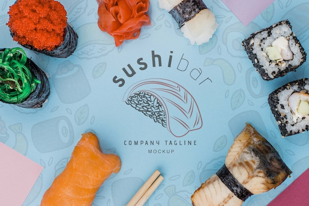 Frame of sushi rolls Free Psd