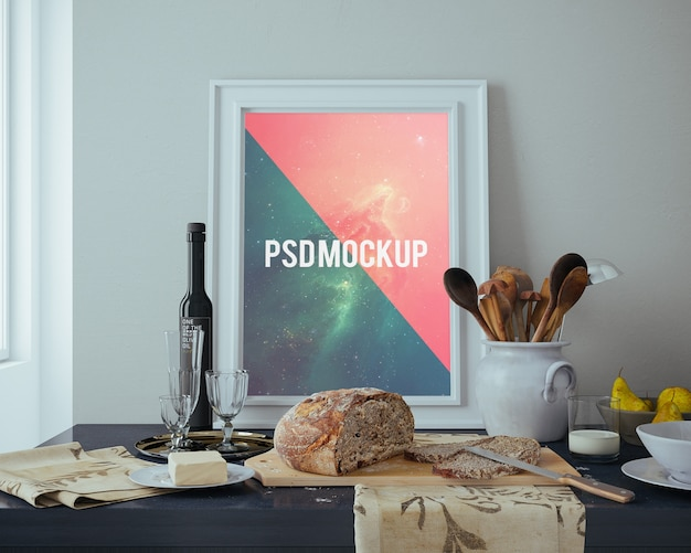 Frame on table with food mock up Free Psd