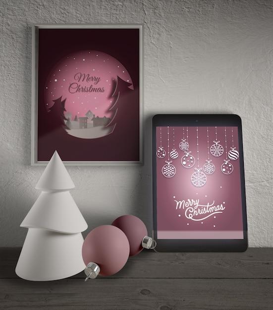 Cornice e tablet con tema natalizio Psd Gratuite