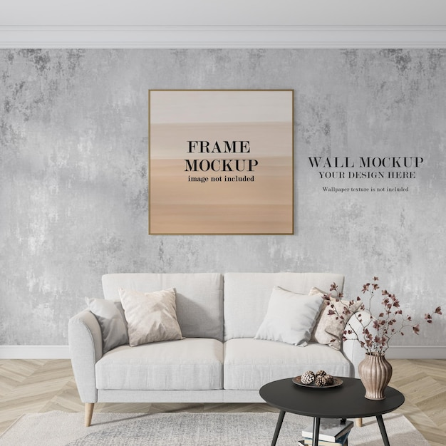 Frame and wall mockup behind sofa Premium Psd
