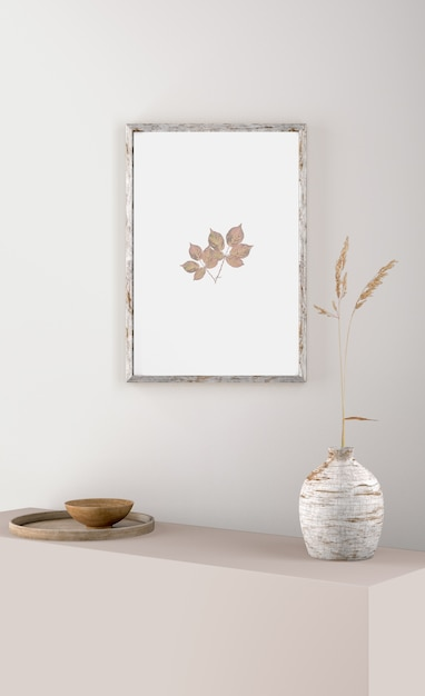 Cornice su muro con fiore in vaso Psd Gratuite