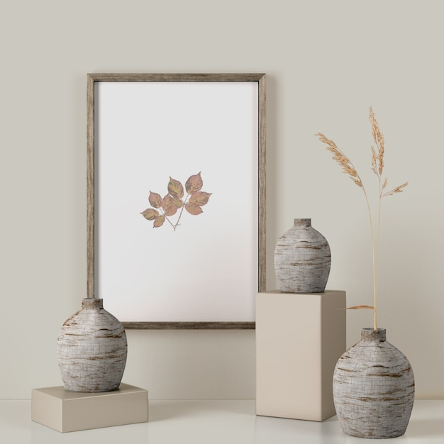 Frame on wall with leaves and vases Premium Psd