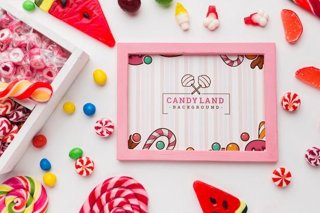 Рамка с коллекцией конфет Бесплатные Psd