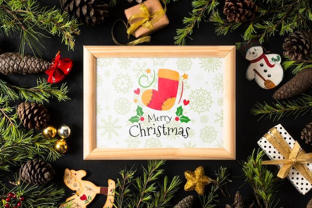 Frame with christmas theme on coronet Free Psd
