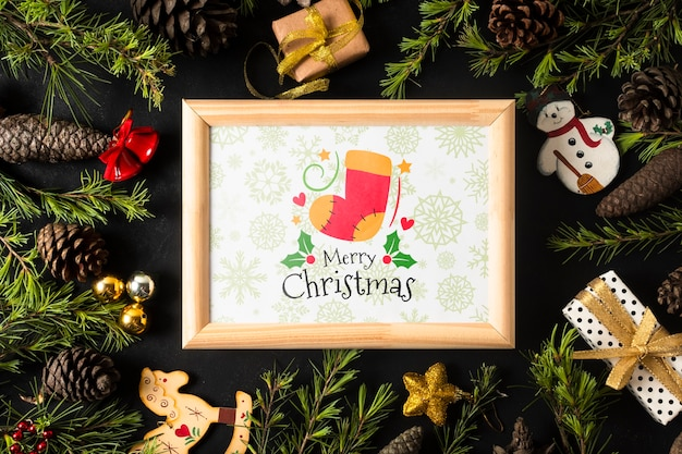 Рамка с рождественской темой на короне Бесплатные Psd