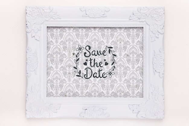 Frame with fancy tapestry save the date mock-up Free Psd
