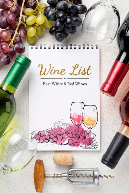 Рамка со свежим виноградом для вина Бесплатные Psd