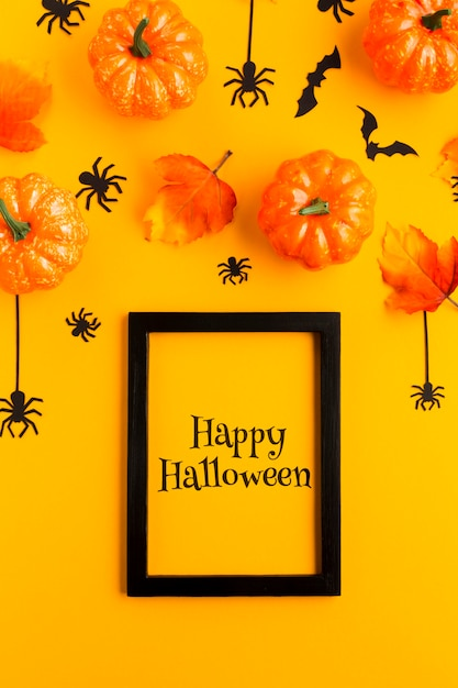 Frame with happy halloween message Free Psd