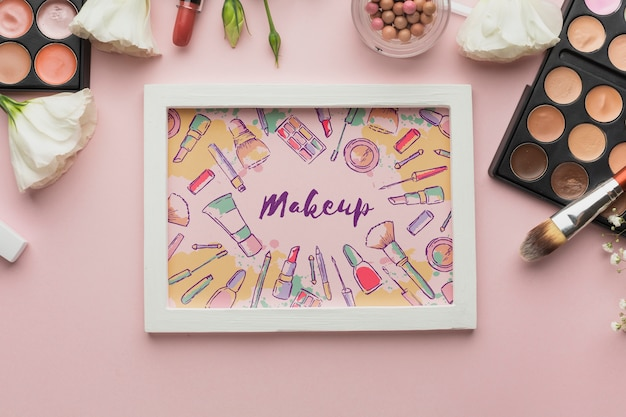 Frame with makeup message mock-up Free Psd