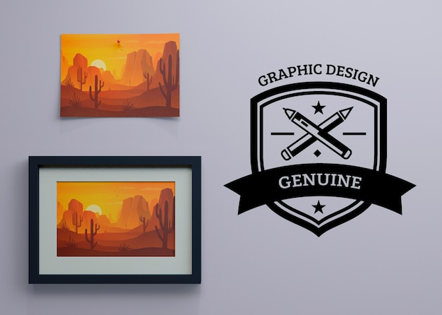 Frame with nature paint and logo beside Free Psd
