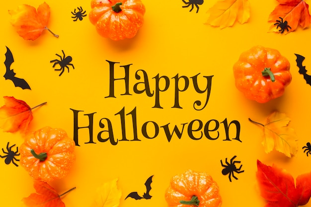 Frame with pumpkins on halloween day Free Psd